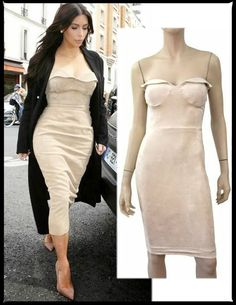 HOUSE OF CB 'Savala' Nude Leatherette Bustier Strapless Dress XS ~KIM K's CLOSET #HOUSEOFCB #StretchBodyconWigglePencil #Anytime
