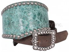 Turquoise Rose Wide V Belt by Double J Saddlery