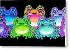 A Colorful Collection Of Spotted Frogs Greeting Card by Nick Gustafson Frog Art, Frogs, Rainbow Colors, Greeting Cards, Colorful, Fictional Characters, Collection, Rainbow Colours, Fantasy Characters