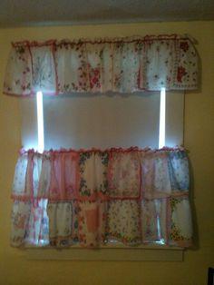 Glorious Make Rod Pocket Curtains Ideas. Enchanting Make Rod Pocket Curtains Ideas. Shabby Chic Kitchen Curtains, Cottage Curtains, No Sew Curtains, Rod Pocket Curtains, Patchwork Curtains, Handkerchief Crafts, Vintage Handkerchiefs, Vintage Fabrics, Vintage Linen