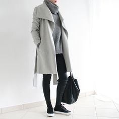 #minimalism #coat #converse #simplicity #oversize #grey