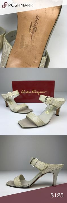 "Salvatore Ferragamo White Leather 2 Bands Sandals Salvatore Ferragamo White Leather 2 Bands Heel Sandals. Logo embossed leather upper, the upper band is adjustable with buckle closure. Leather lining and soles. Size 8.5. Heel height approximately 3.5"". Made in Italy. In good condition, some scuffs, stains, and discoloration on the exterior, lining wears, scuff soles, box included. #L026-07317 Follow is on Instagram @reshopofficial for promotion and discount. Salvatore Ferragamo Shoes Sandals"
