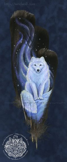 Inner Light -- Arctic Fox on a feather print Feather Painting, Feather Art, Tole Painting, Fox Spirit, Spirit Animal, Beautiful Wolves, Animals Beautiful, Native American Wolf, Feather Crafts
