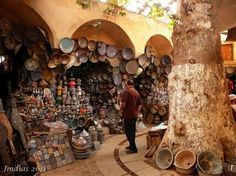 Potters Souk in the Fez Medina, Morocco. I wish I were shopping there today! Our Tagine just broke. Fes, Antalya, Adventure Travel, Old Things, Africa, Around The Worlds, Canning, Places, Medina Morocco