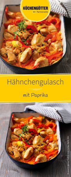 Hähnchengulasch mit Paprika Recipe for chicken goulash with peppers Salmon Recipes, Meat Recipes, Chicken Recipes, Dinner Recipes, Cooking Recipes, Healthy Recipes, Shrimp Recipes, Avocado Recipes, Healthy Eating Tips