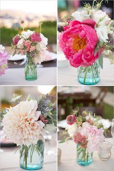 wedding centerpiece floral ideas #peony #malibuwedding #weddingchicks http://www.weddingchicks.com/2014/01/06/coast-to-coast-wedding/
