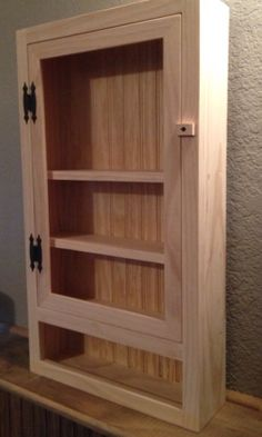 Wall Cabinet - Bathroom Cabinet - Kitchen Cabinet -  Shelf - Pantry - Spice Rack - Nail Polish Storage - Pine - Unfinished