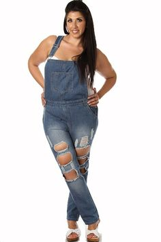 Plus Size Painter Overalls deconstructed distressed Overalls Plus Size, Plus Size Jumpsuit, Curvy Fashion, Trendy Fashion, Womens Fashion, Painters Overalls, Club Cocktail Dresses, Cheap Club Dresses, Denim Romper