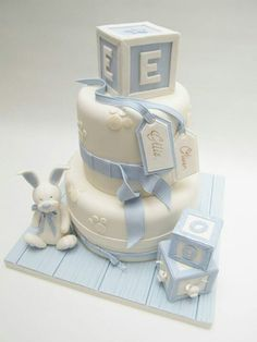 Letter Blocks Christening Cakes for Boys Decors Pate A Sucre, Gateau Baby Shower, Christening Cake Boy, Baby Boy Cakes, Novelty Cakes, Cute Cakes, Celebration Cakes, Themed Cakes, Baby Boy Shower