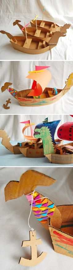 DIY Cardboard Ships - fun crafts idea for kids- good for Viking, Greek, other lessons! Crafts To Do, Crafts For Kids, Arts And Crafts, Paper Crafts, Easy Crafts, Projects For Kids, Diy For Kids, Craft Projects, Kids Fun