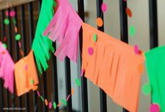 Neon Party -- dot garland-- stick neon dot stickers to thread -- SO EASY!!