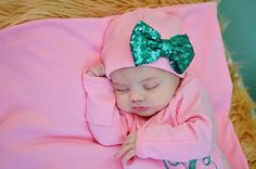 Pink and aqua Newborn Girl hat...newborn baby hat...pink newborn hat...new baby…