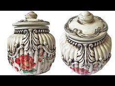 (17) DIY VINTAGE JAR DECOR / VINTAGE DECORATION / JAR DECOR - YouTube Vintage Jars, Vintage Decor, Decoupage, Mason Jars, Silicone Molds, Lily, Youtube, Glass, Reuse