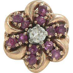 Ruby Diamond 14K Rose Gold Flower Ring Retro 1940s found at www.rubylane.com @rubylanecom