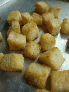 Homemade Croutons ~ I used leftover French bread!  These turned out so light and crispy!
