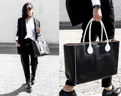 Get this look: http://lb.nu/look/8662329  More looks by Kristina: http://lb.nu/dayinmydreams  Items in this look:  Grana Black Silk Blazer, Grana White Oxford, Esemble Leather Tote, Grana Wool Joggers, Bared Man Tailored Oxfords   #dapper #minimal #street #joggers #athleisure #minimalist #fashion
