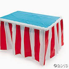 Red & White Striped Table Skirt. This eye-catching table decoration is perfect for a number of festivities and celebrations! Carnivals, summer picnics, Hall