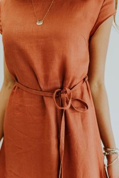 Burnt orange tie linen dress |