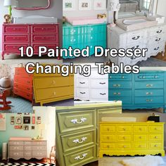 Might be a fun idea for the room to add color? 10 Painted Dresser Ideas for a Nursery Changing Table. Love this, we are looking to redo a dresser for the nursery! Nursery Room, Girl Nursery, Girl Room, Baby Room, Bedroom, Elephant Nursery, Plywood Furniture, Baby Furniture, Children Furniture