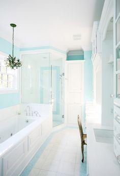 instead of aqua shower tiles, aqua paint and some aqua accent on floor tiles