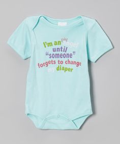 This Mon Cheri Baby Blue 'Change My Diaper' Bodysuit - Infant by Mon Cheri Baby is perfect! #zulilyfinds