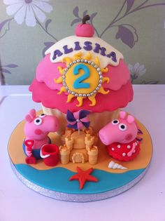 Peppa Pig At The Seaside giant cupcake by Bezmerelda Big Cupcake, Cupcake Cakes, Cupcake Ideas, Peppa Pig Birthday Cake, 3rd Birthday, Birthday Ideas, Pig Cakes, Cake Tower, Cake In A Jar