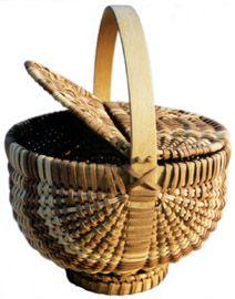 """Double Lidded Cherokee Basket 12"""" x 9"""", Tony Stubblefield"""