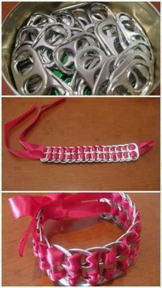 Pop top and ribbon bracelets...Fun little craft to do with kids..