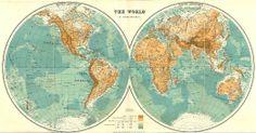 WORLD: The World in Hemispheres. Relief. Ocean depths. STANFORD, 1906 map