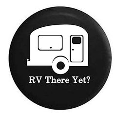 We Sleep Around Travel Trailer RV Camper Spare Tire Cover OEM Vinyl Black 27.5 in