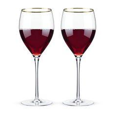 Belmont™ - Gold Rimmed Crystal Red Wine Glasses (Set of 2)  #wine #glass #drinking #whitewine #aerator #drinkware #party #redwine #bottle #happyhour  https://rustybeardonline.com