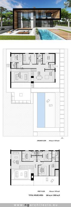 Moderne Villa Accra entworfen von NG Architects w . Accra, Modern House Plans, Small House Plans, Home Design Programs, Villa Plan, Modern Villa Design, Casas Containers, House Blueprints, Architecture Plan