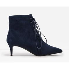 CHARLES & KEITH Kitten Heel Booties (100 CAD) ❤ liked on Polyvore featuring shoes, boots, ankle booties, navy, faux suede boots, navy blue booties, pointed booties, pointy boots and lace-up ankle booties