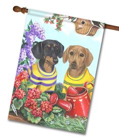 """Dachshund Floral Sunshine House Flag: Flag Size: 28"""" x 40"""" Flag stand sold separately Proudly Printed in the USA Vibrant colors printed on a poly/cotton outdoor quality fabric. Digitally printed"""