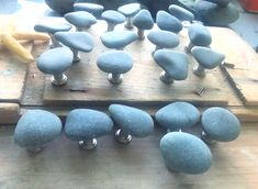 Beach stone knobs on satin nickel on its way to a new beach house. See my Etsy shop at Beach Stones, Ocean Art, Driftwood, Beach House, Nautical, My Etsy Shop, Satin, Glass, Beach Homes