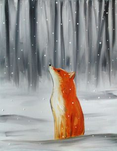 Join us for a Paint Nite event Mon Jan 2019 at 137 ave and 66 street Edmonton, AB. Purchase your tickets online to reserve a fun night out! Fox Painting, Winter Painting, Winter Art, Acrylic Painting Canvas, Painting & Drawing, Canvas Art, Christmas Paintings, Christmas Art, Fox Art
