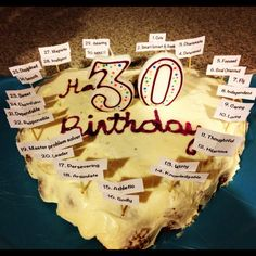 """Good idea ~ Pinner wrote: """"Birthday cake for my fiancé for his birthday. Added 30 qualities about him on the cake. Fiance Birthday Gift, 30th Birthday, Birthday Parties, Birthday Ideas, Birthday Celebrations, Birthday Desserts, Party Desserts, Birthday Decorations, Birthday Cakes"""