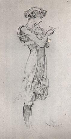 Alphonse Mucha, Study for a corset poster by aurelia