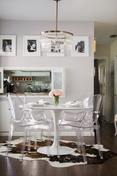 Ghost Chairs Dining, Plastic Dining Chairs, Dining Arm Chair, Dining Room Chairs, Outdoor Furniture Plans, Furniture Decor, Furniture Design, Eames, Condo Decorating