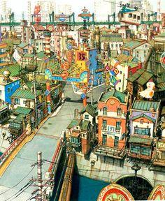 Enjoy The Art of Tekkon Kinkreet in gallery of Concept Art & Background Art made for the movie. Tekkonkinkreet is a three-volume seinen manga series by Environment Concept, Environment Design, Animation Background, Art Background, Comics Illustration, Illustrations, Art Environnemental, Anime Scenery, Environmental Art