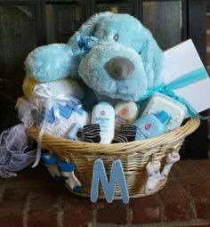 """Baby boy shower gift. First initial of name to be """"M"""""""