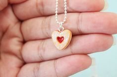 Adorable! Food Jewelry  Heart Linzer Cookie Necklace by Cutetreats on Etsy, $12.00 @Janirette Vazquez
