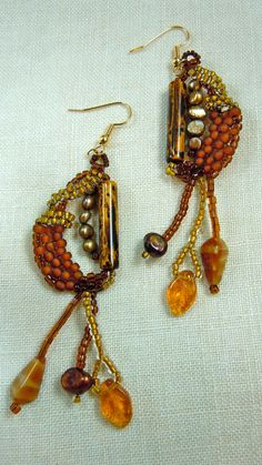 Brown one of a kind handcrafted earrings. by HannaLoreEtsy on Etsy,