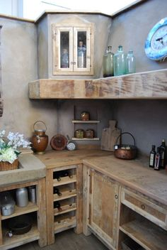 I love this rustic kitchen! The soft grey walls and super thick open shelving (which is what I have in my kitchen) is beautiful Barn Kitchen, Kitchen Cupboards, Rustic Kitchen, Country Kitchen, Kitchen Dining, Kitchen Decor, Cabin Kitchens, Cool Kitchens, Outdoor Kitchen Design