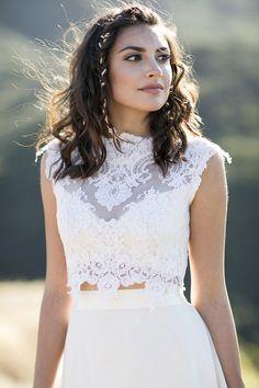 Southern California golden hour wedding // Two-piece wedding dress