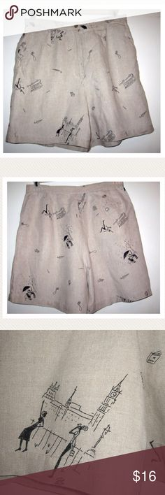 """VTG London Travel Theme Hi Waist Linen Shorts 10 Adorable 100% linen shorts from RAFAELLA are vintage 1980s. Shorts are high waist with slash pockets, flat front, and single back pocket. Pale taupe with a black pen-and-ink print of London scenes --- double decker buses, umbrellas, maps, cameras, and tourists! (SO CUTE!)   Perfect vintage condition. No flaws.   Tag size 12. Fits like a modern 10  Waist: 32""""  Rise: 13""""    Inseam: 6"""" Vintage Shorts"""
