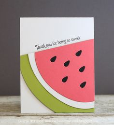 handmade card ... clean lines ... graphic feel ... giant watermelon slice die cut ... summer!! ...