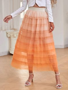 Ombre Layered Tutu Skirt | SHEIN USA Fashion News, Midi Skirt, Skirts, Outfits, Clothes, Color Naranja, Products, Cape Clothing, Spring Summer