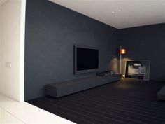 Home & Apartment, Wall Mounted TV Above Wooden Cabinet Living Room Apartment Design With Black Interior Color Decorating Ideas Orange Floor Lamp And Hardwood Floor Tiles ~ Apartment by MODOM Minimalist Apartment, Minimalist Interior, Minimalist Decor, Modern Interior, Gray Painted Walls, Dark Grey Walls, Apartment Design, Apartment Living, Accent Wall Colors