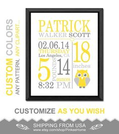 yellow gray baby annoucements owl birth sign new baby decor newborn gift personalized birth stats baby name owl birth date print baby stats by PinkeeHome: